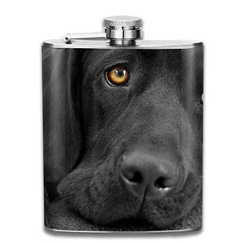 All Black Labrador Puppy Hip Flask for Liquor Stainless Steel Bottle Alcohol 7oz