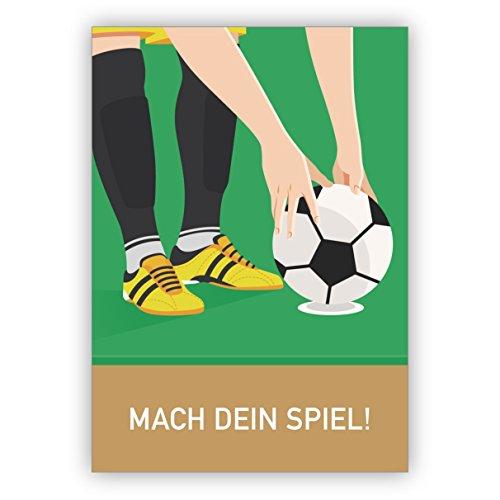 Motiverende voetballer wenskaart met spreuk: maak je spel • mooie hoogwaardige wenskaart met envelop voor vele gelegenheden 16 Grußkarten