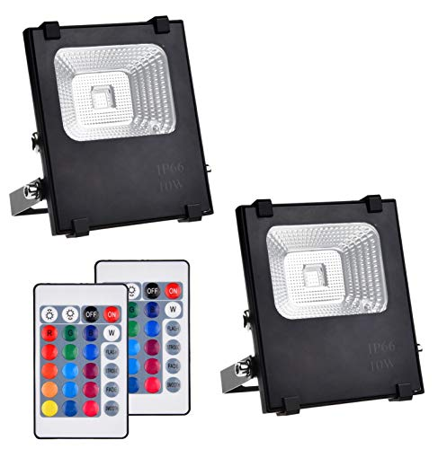 Telaso 2 Pack 10W RGB LED Flood Light with Remote Control, IP66 Waterproof Dimmable 16 Colors Changing 4 Lighting Modes…