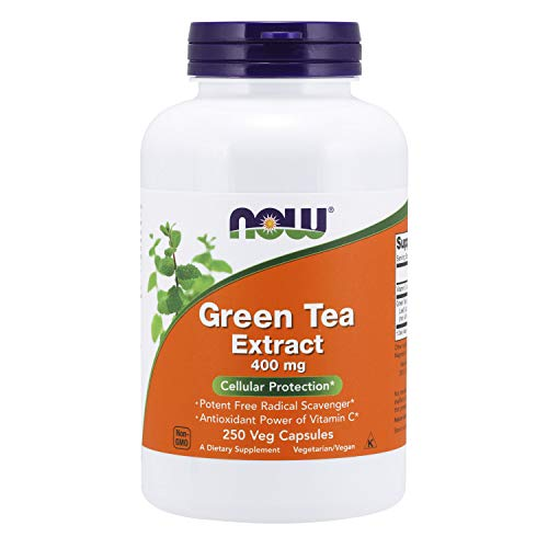 NOW Supplements, Green Tea Extract 400 mg with Vitamin C, Cellular Protection*, 250 Veg Capsules
