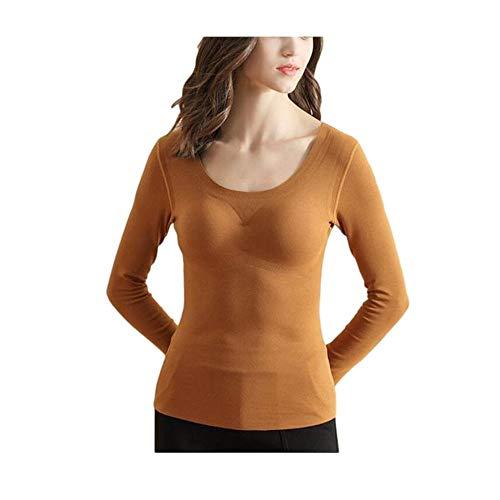 Reggiseno incorporato Scaldino senza cuciture , Intimo termico ultra morbido per modellare il corpo Maglietta foderata in pile Maglietta per strato base manica lunga da donna XXXL Cammello