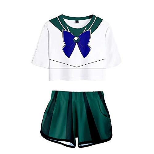 Anime Sailor Moon Camiseta Crop Top Japanese Anime 3D Camiseta Ombligo De Dos Piezas De Manga Corta Corta Y Pantalones Cortos,Verano Sailor Moon Trajes Cosplay Halloween Anime Camiseta Mujer Niñas