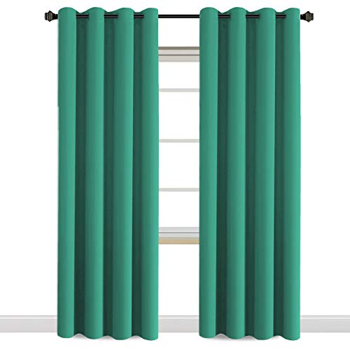 H.VERSAILTEX Thermal Insulated Blackout Window Curtain Panels, Vinyl Free Nursery/Baby Care Grommet Curtains Pair, 52 by 84 - Inch - Green