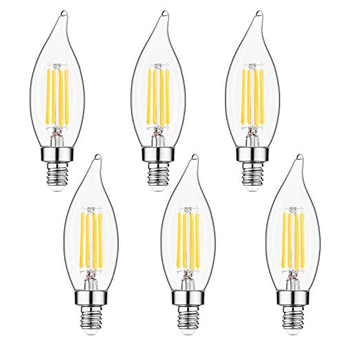E12 Candelabra LED Bulbs Dimmable 60W Equivalent LED Chandelier Light Bulbs 4.5W Soft White 2700K 500LM B10 Flame Tip Vintage LED Filament Candle Bulb with Decorative Candelabra Base, 6 Packs