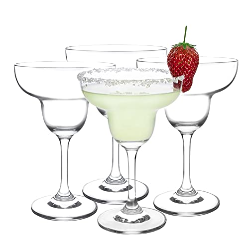 JEKOSEN Crystal Margarita Cocktail Glasses 9 Ounce Set of 4 Premium Strong Lead-Free Clear Party Drinking Glasses