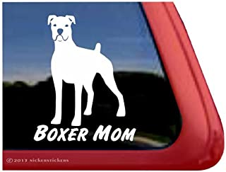 Boxer Mom Vinyl White Boxer Dog Window Decal Sticker
