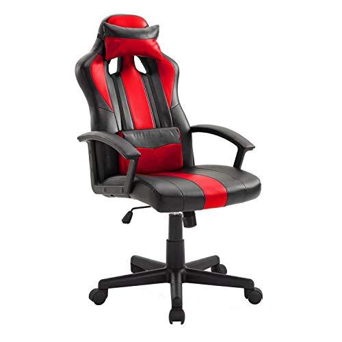 Ghost - Silla de Oficina con Ruedas Gamer - Ajustable en Altura de 114 a 123 cm - Moderna y cómoda - Rojo