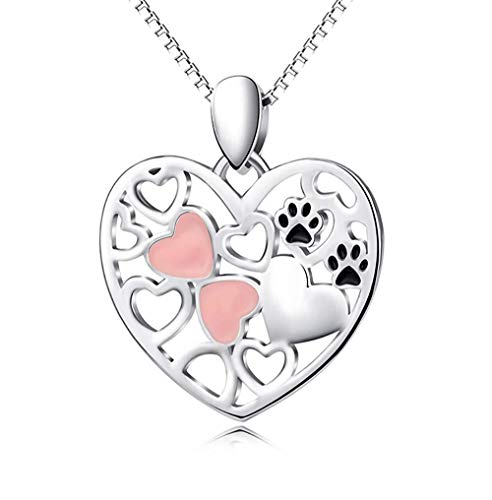 pyongjie Collar de Mujer S S925 Plata esterlina Perro Pata corazón Colgante Collar Mujer clavícula Cadena joyería