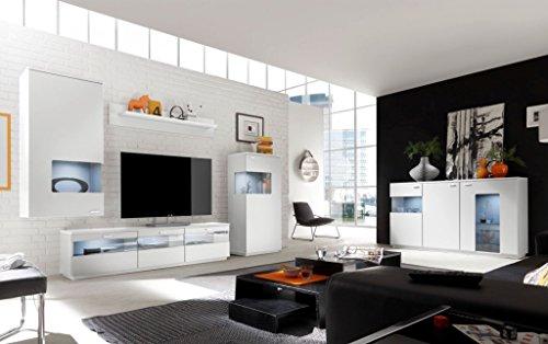 COMO Wohnzimmer Set 9 Wohnwand Anbauwand Wohnkombination Weiß supermatt