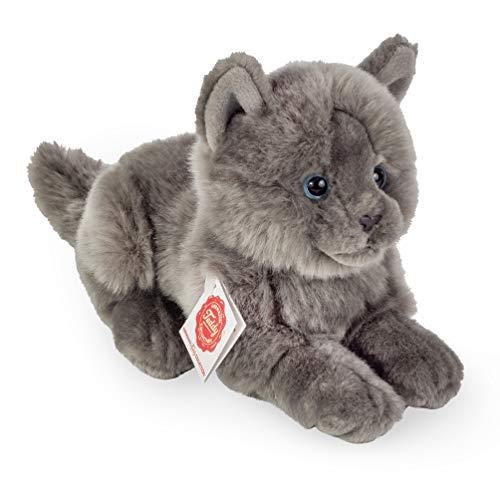 Teddy Hermann 91831 Kartäuser Katze liegend 20 cm, Kuscheltier, Plüschtier