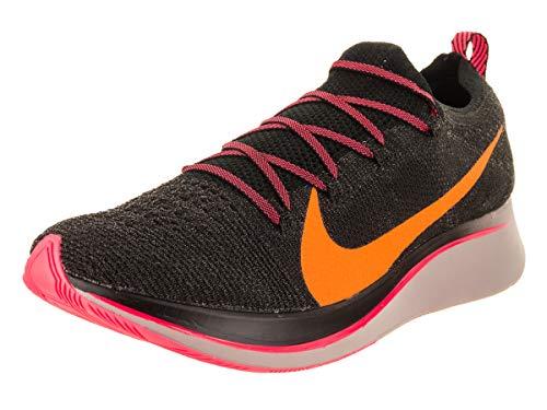 Nike Men's Zoom Fly Flyknit Black/Flash Crimson/Orange Peel Nylon Running Shoes 11.5 M US