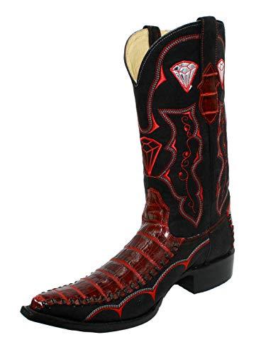 Men's Genuine Leather Crocodile Print 3X Cowboy Boots Handmade (10) Black-red