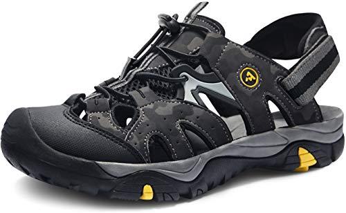 ATIKA Sandali sportivi da uomo con punta chiusa, leggeri per camminata, trailing, trekking, scarpe da acqua in estate, Nero (M142, confezione da 1, colore nero mimetico), 42 EU
