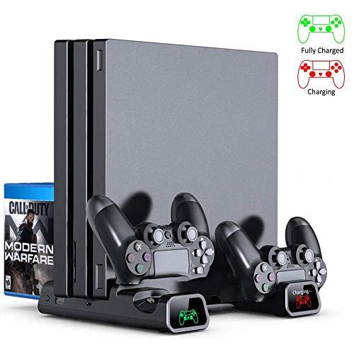 Support vertical pour console mince PS4 / PS4 Pro / PS4 avec voyant de chargement à LED, siège de chargement pour 2 manettes / 2 ventilateurs de refroidissement / zone de stockage de 12 jeux, convie