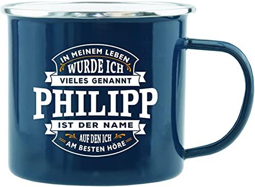 History und Heraldry Echter Kerl - Emaille Becher Philipp - individuelle & personalisierte Tasse mit Name & Spruch