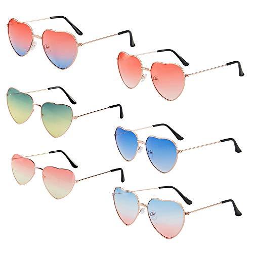 MEJOSER 6 Stück Brille Rosa Herz Hippie Brille Retro Hippie Brille Hippie Kostüm Brille Herren Damen Brille