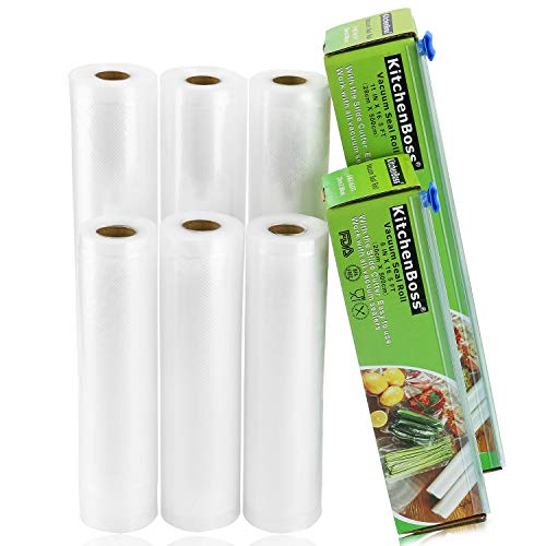 KitchenBoss Vacuum Sealer Rolls Bag, 6 Pack 8'x16.5' and 11'x16.5' Food Saver Bag Rolls with Cutter Box,Sous Vide Roll Bag(100 feet) Works with FoodSaver Sealers