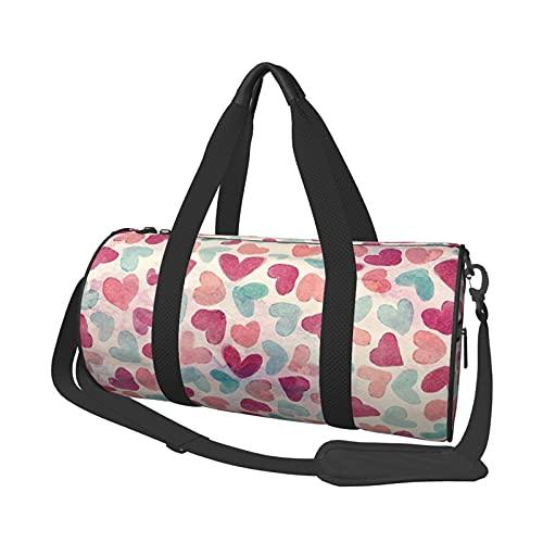 MBNGDDS Bolsa de viaje con patrón de corazón, ligera, plegable, impermeable, con correa para el hombro, bolsa de deporte para hombres y mujeres, ver imagen, Talla única,
