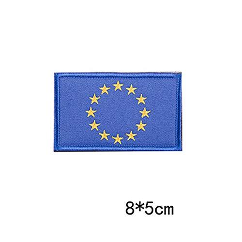 Egurs 2 Stück Klett Patch 8 x 5 cm für Jacke, Hüte, Rucksäcke, EU-Flagge