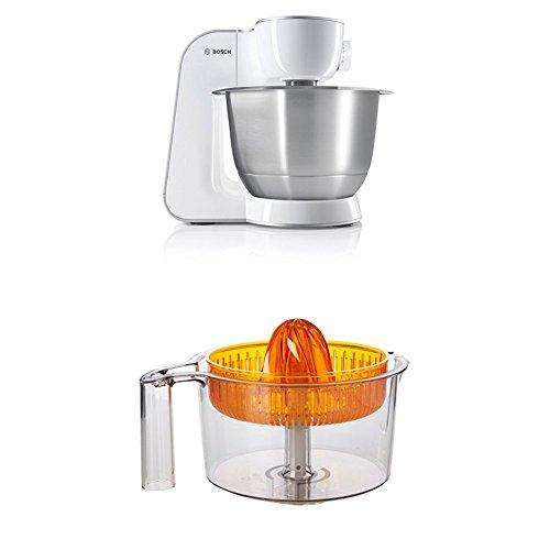 Bosch MUM54270DE Küchenmaschine (900 W, 3,9 l, edelstahlrührschüssel, Würfelschneider) weiß/silber + MUZ5ZP1 Zitruspresse transparent mit orangem Presskegel