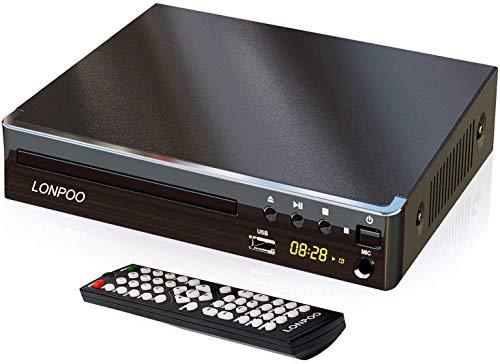 LONPOO Lettore DVD Compatto 1~6 Regione Libera (Porto HDMI, USB, RCA, MIC, LED Display con Telecomando, cavo HDMI& AV incluso) - Nero