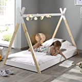 Alfred & Compagnie Soldes Cama Tipi con somier 90x 200Pin Blanco/Natural...