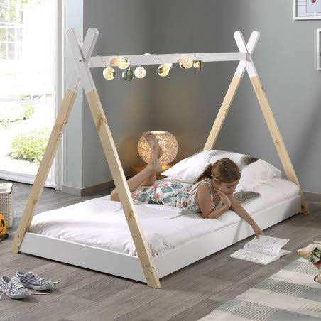 Alfred & Compagnie TIPI - Cama con somier (90 x 200 pino),