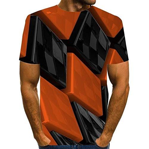 Qier Tshirt Herren Grafische Kurzarm-Oberteile, Baumwoll-T-Shirt, T-Shirts Mit 3D-Plaid-Print, Orange, XL