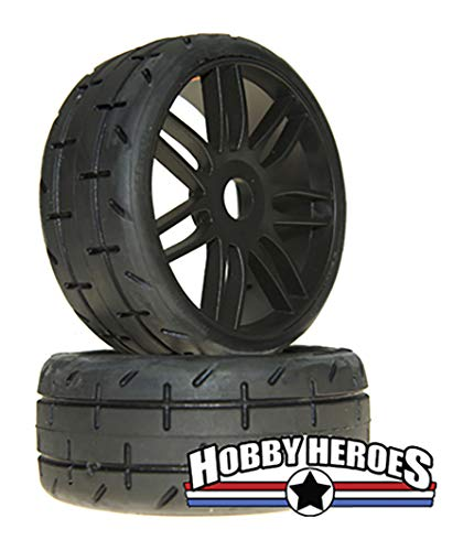 GRP GTX01-S5 GT TO1 Revo Belted Pre-Mounted 1/8 Buggy Tires (Black) (S5)