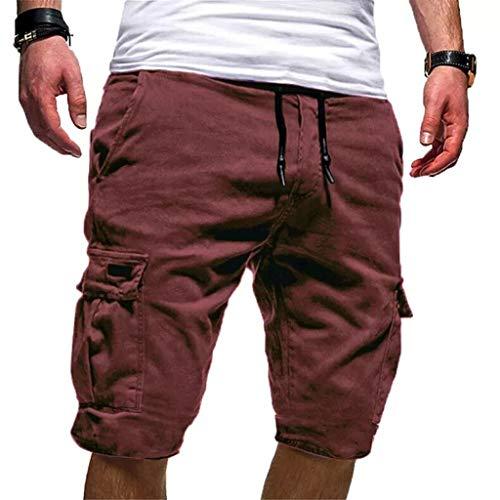 Ginli Pantaloni Corti Bermuda Cargo Pantaloncini Uomo Cotone Lavoro Pantaloni Tasconi con Elastico Pantofole Uomini Estive Casual Pantaloncino Sportivi (S, caffè)