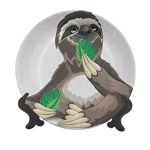 Plato decorativo de cerámica de 25,4 cm, diseño de perezoso con animales salvajes comiendo hojas verdes, indolentes, divertidos, decoración de pared de cerámica para decoración de recepción de boda