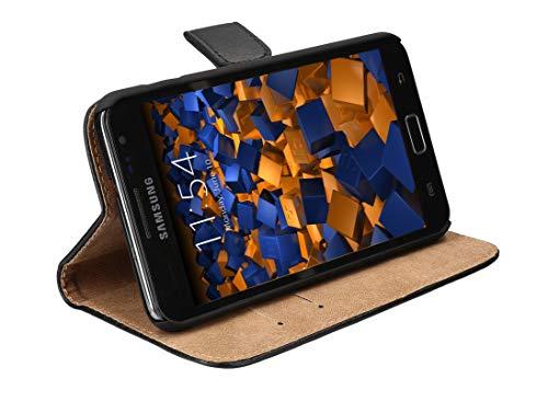 mumbi Echt Leder Bookstyle Case kompatibel mit Samsung Galaxy Note Hülle Leder Tasche Case Wallet, schwarz