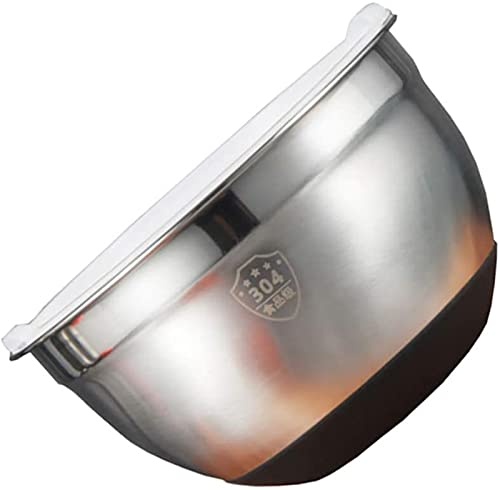 Prep bowls Stainless Steel Mixing Bowl Metal Baking Bowl with Silicone Cover Insulated Bowl Nesting Bowls for Cooking Baking Prepping (Size : 21.5X21.5CM)