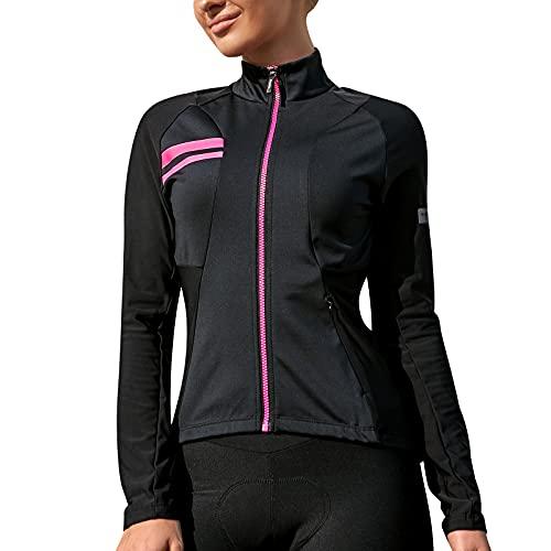 Santic Fahrradjacke Damen Winter Thermo Jacken Winddichte Laufjacke Leichte Atmungsaktiv Langarm Reflektierend Reißverschlusstasche Schwarz M