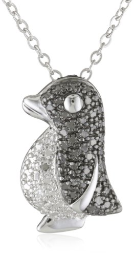 Plated Brass Gunmetal Color Black and White Diamond-Accent Penguin Pendant Necklace, 18'