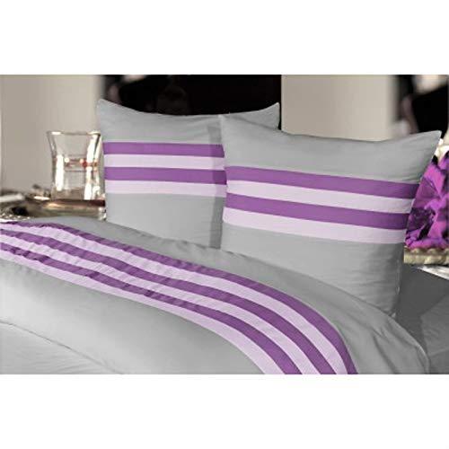 Salomé Prestige - Funda nórdica y 2 fundas de almohada (65 x 65 cm, satén de algodón, 120 hilos), color azul marino