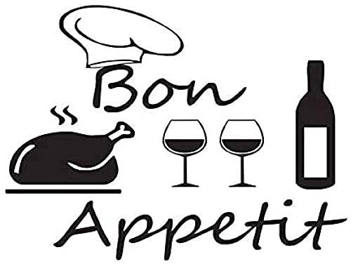 Decoración De Cocina Sombrero De Chef Turco Botella De Vino Y Pegatina De Pared De Vidrio Vinilo Extraíble Decoración Del Hogar 57X80Cm