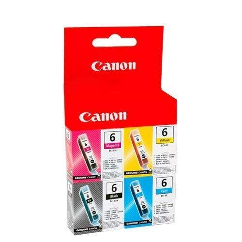 Canon, confezione da quattro cartucce d'inchiostro originali BCI-6 BCI6, magenta, ciano, nero e giallo (stampante Pixma Pixus Bubblejet foto & MFP), bci6M, bci6Y, bci6K, bci6C, in confezione di alluminio