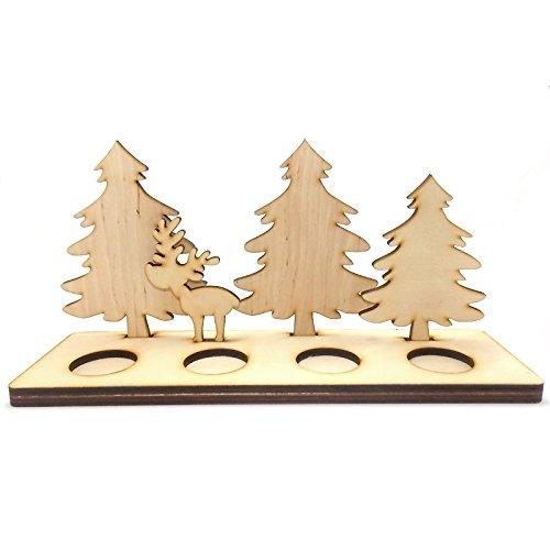 Zita's Creative Teelichthalter aus Holz 4-er - REH mit Tannen. Holzfigur, 3D Figur aus Naturholz, Weihnachtsdeko