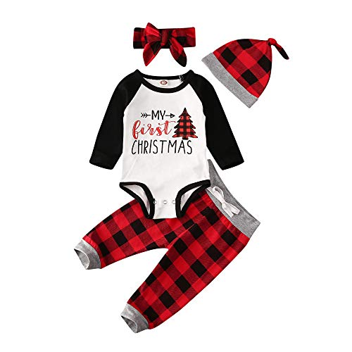 Baby Boy Girl Christmas Outfit Newborn Infant Clothes Long Sleeve Onesie Bodysuit Romper+Red Plaid Pants Hat Headband Set (My First Christmas, 0-3 Months)