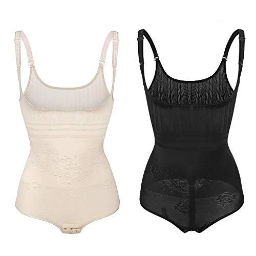 Wirezoll Damen Shapewear, Figurformender Body Bauch Weg Bodysuit mit Haken, Schwarz+beige, XL