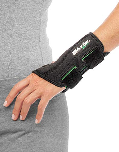 MUELLER Green Fitted Wrist Brace, Black, Left Hand, Large/Extra Large 8-10 (86274)