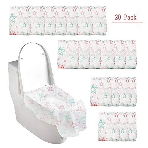 FUJIE 20 Stück Einweg Toiletten Sitzbezug, Toilette Auflage WC-Sitz Matte für Einkaufszentren
