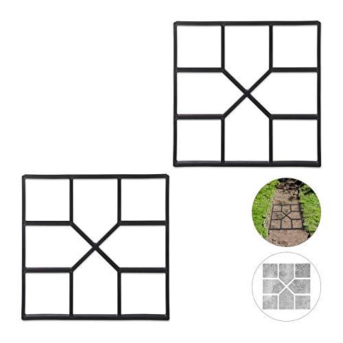 Relaxdays 2 x Betonform im Set, Schalungsform zum selber gießen, Gussform für Gehwegplatten, 40x40cm, robuster Kunststoff, schwarz