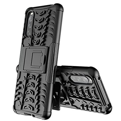 Liner Hülle für Sony Xperia 10 III, Militärstandard Strapazierfähig Robust Handyhülle Outdoor Stoßfest Handy Hülle Schutzhülle mit Stabilem Ständer für Sony Xperia 10 III - Schwarz