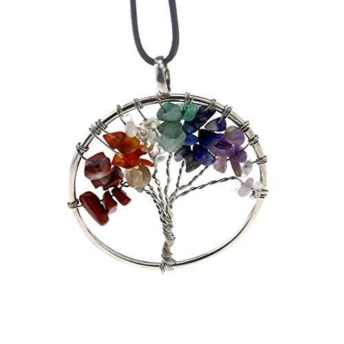 ENET 7 Chakra Kristallstein, handgefertigt, Baum des Lebens, Edelstein, gerollter Draht, Anhänger, Halskette, Kristall, Schmuck