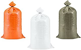 SGT KNOTS Poly Sand Bags for Flood Control (14 in x 26 in - 10 pack) - Polypropylene Sandbags for Flooding - Reusable Empty Sand Bag to Weight with Sand - Heavy Duty Barrier Sandbag Weights (White)