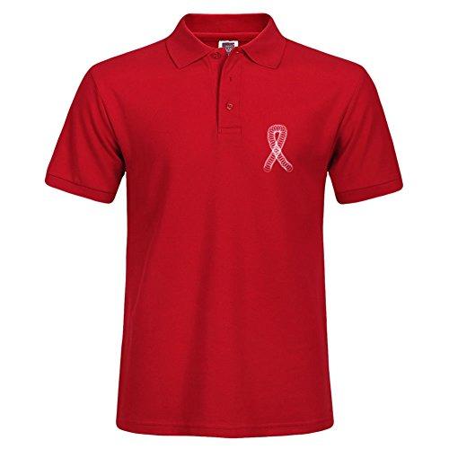 Nueva camisa elegante de manga corta Casual Polo para hombre camisetas Tee Tops squigles cáncer de mama cinta