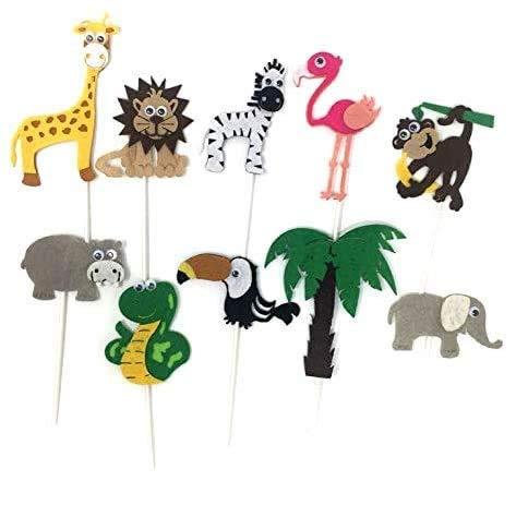 Jungle Safari Animals Felt Cake Toppers Including Lion, Monkey, Zebra, Giraffe