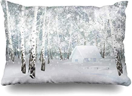 Schneefall Silber Wunderland Winter Schnee Haus Birke Schnee Blau Baum Wald Landschaft Weihnachten Design Kissenbezug 40x60cm für Home Decor Sofa Throw Kissenbezug Weihnachten Geburtstag Geschenk Idee